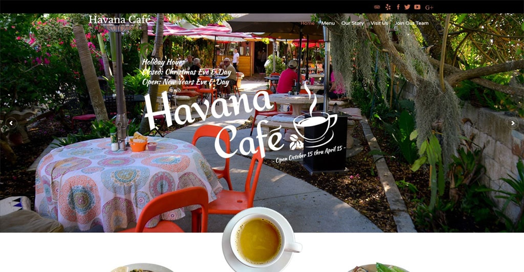 Website Design for Havana Cafe by Paradise Web