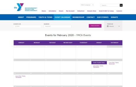 Calendar Integrated on Website | YMCA of South Collier - Paradise Web Marketing Services