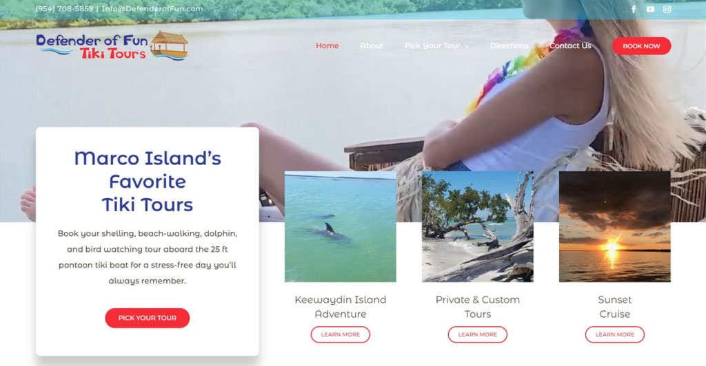 Website Design and Development Defender of Fun Tiki Tours Paradise Web Marketing Services
