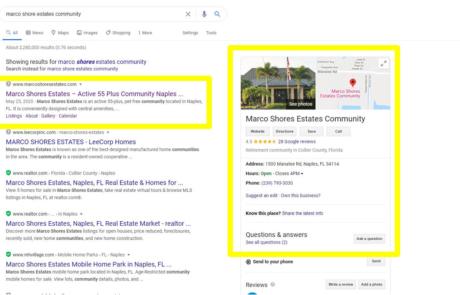 Search Ranking and Google Maps Setup | Marco Shore Estates